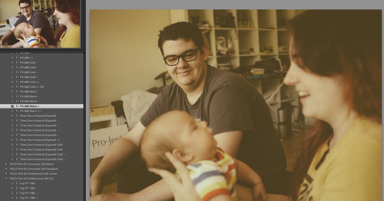 Screen grab of Pete and Mel meeting Harry. Finding my way around VSCO 3 for Lightroom 4.