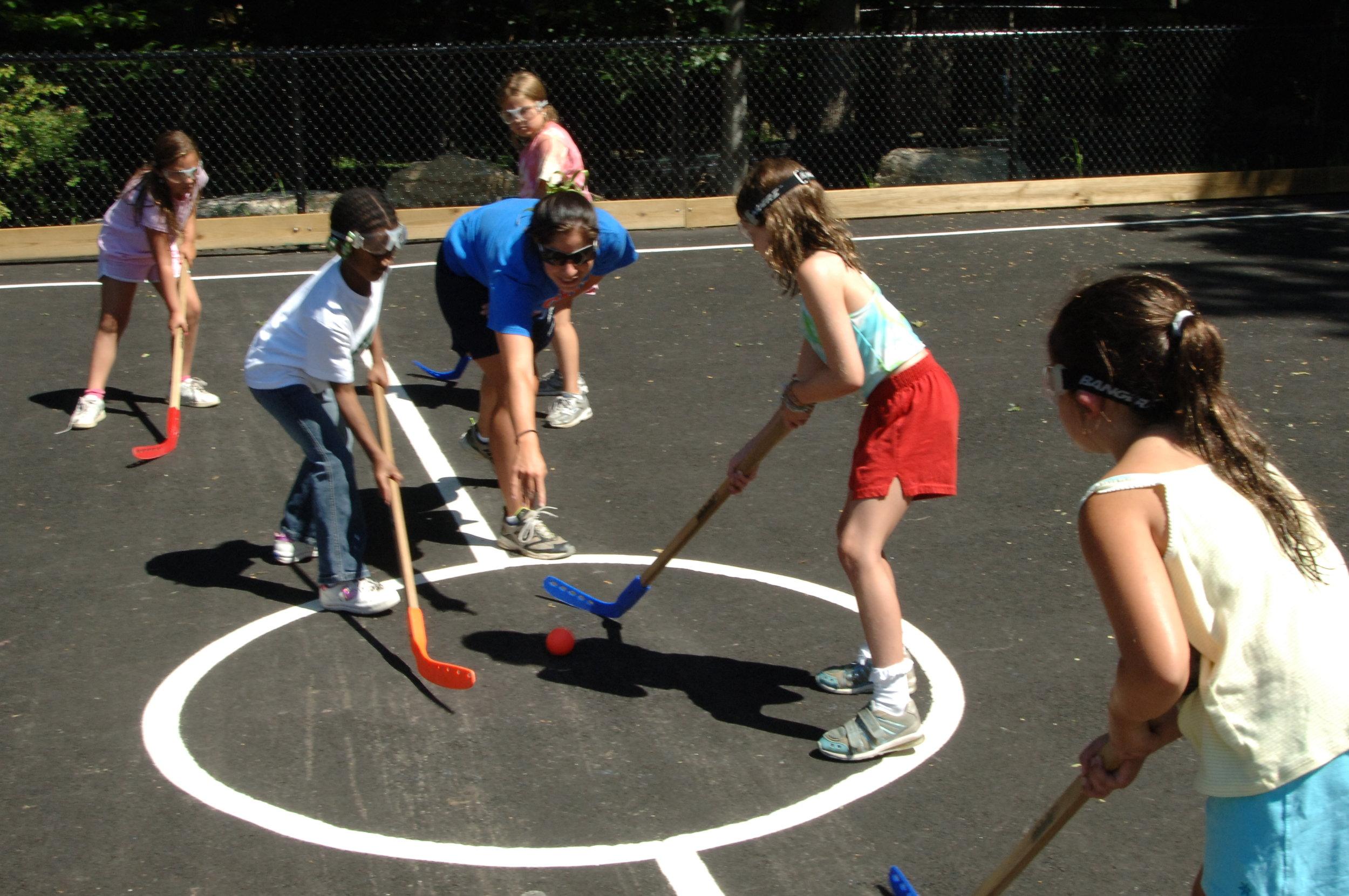 Hockey - Girls faceoff.JPG
