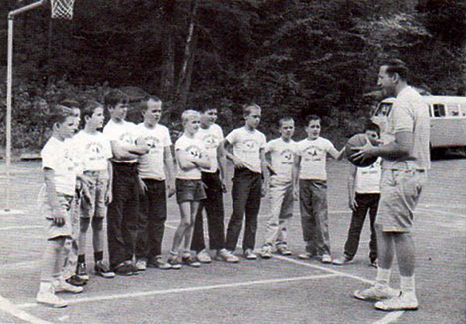 Herm instructing Basketball