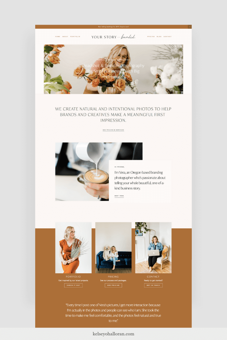 Website copywriting for a small business branding photographer in Portland, Oregon, by copywriter Kelsey O'Halloran