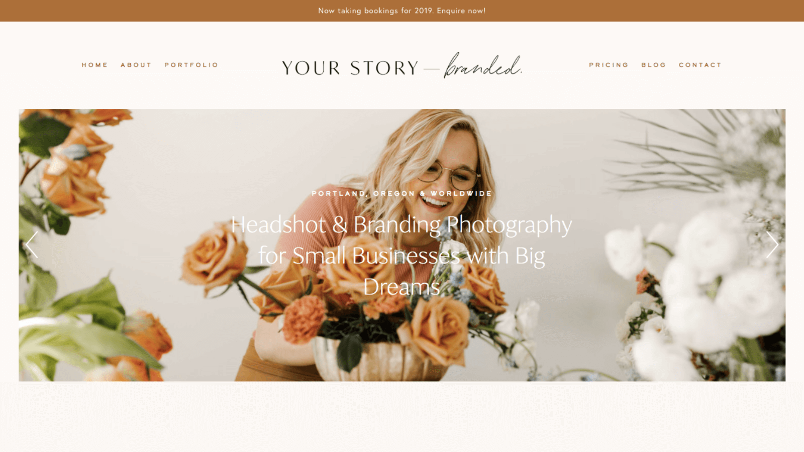 Homepage headline copy for a small business headshot and branding photographer in Portland, Oregon