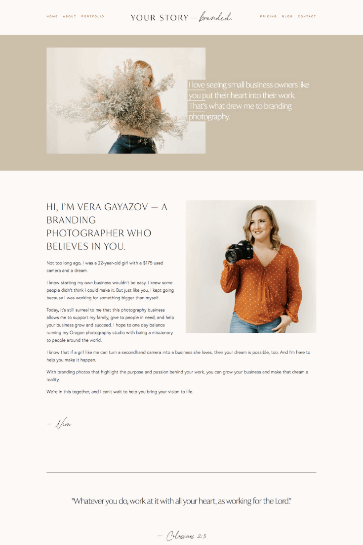 About page copy for a Portland branding photographer. By Kelsey O'Halloran.