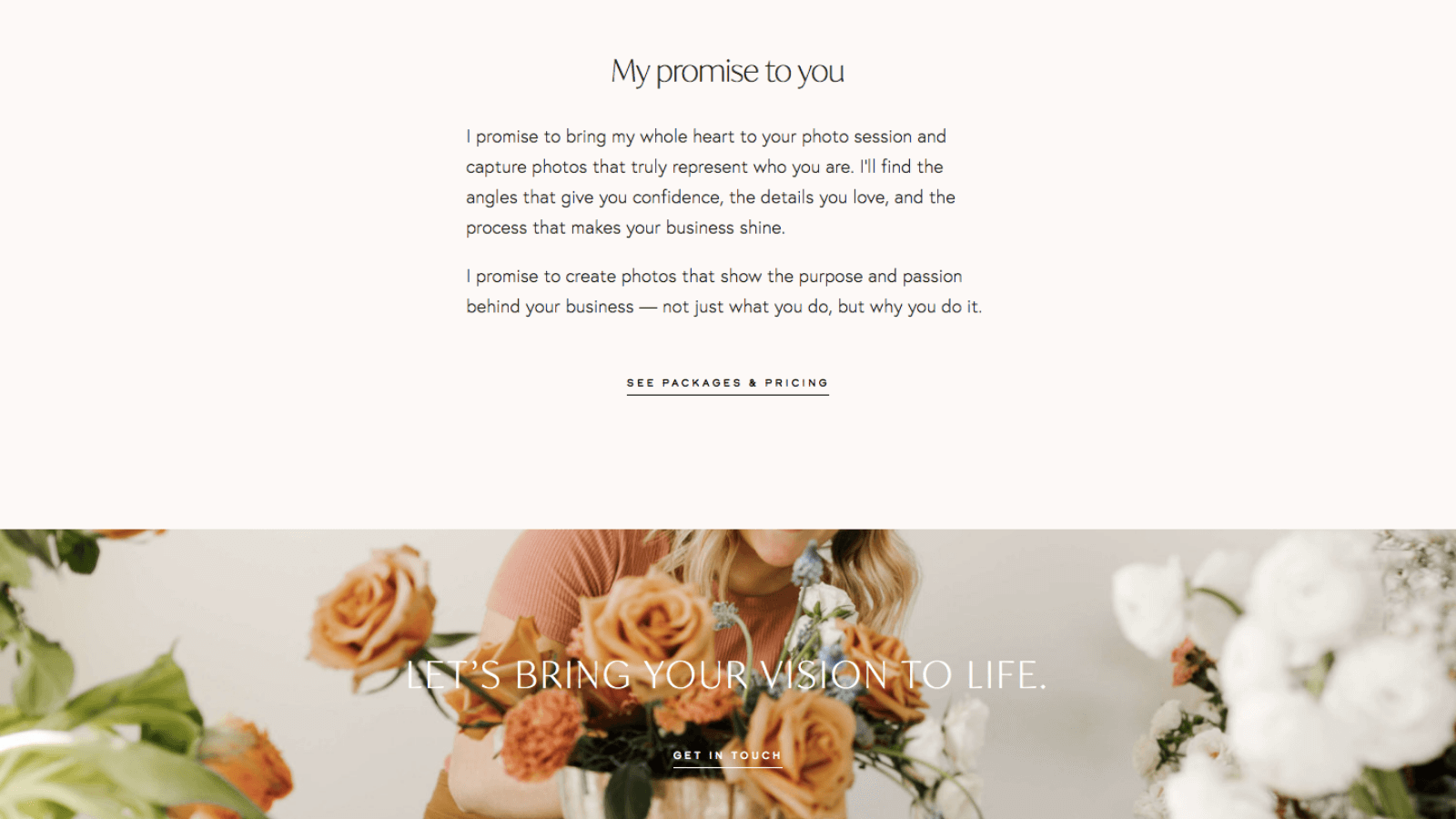Brand promise on a branding photographer's About page; copywriting by Kelsey O'Halloran.
