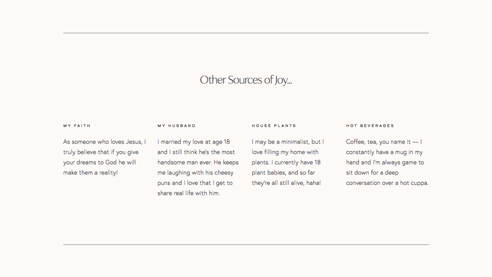 Website copy for a branding photographer's About page, by copywriter Kelsey O'Halloran.