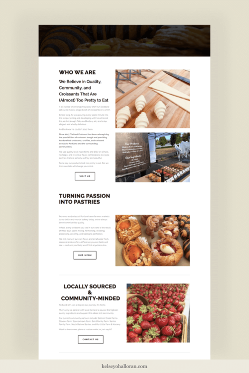 Website copywriting for a Portland, Oregon bakery About page, by copywriter Kelsey O'Halloran
