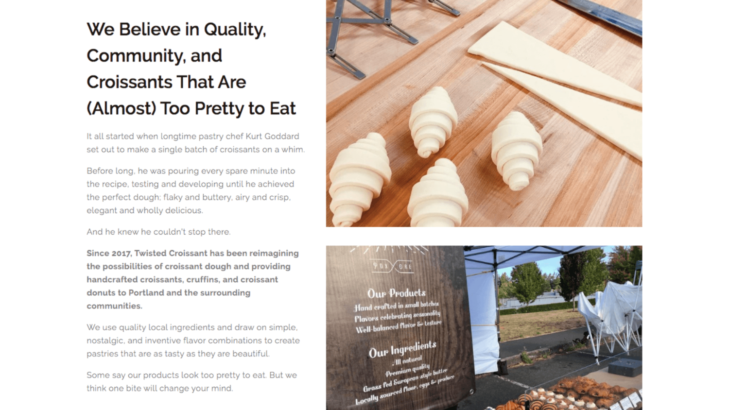Website copywriting for a croissant bakery in Portland, Oregon, by copywriter Kelsey O'Halloran