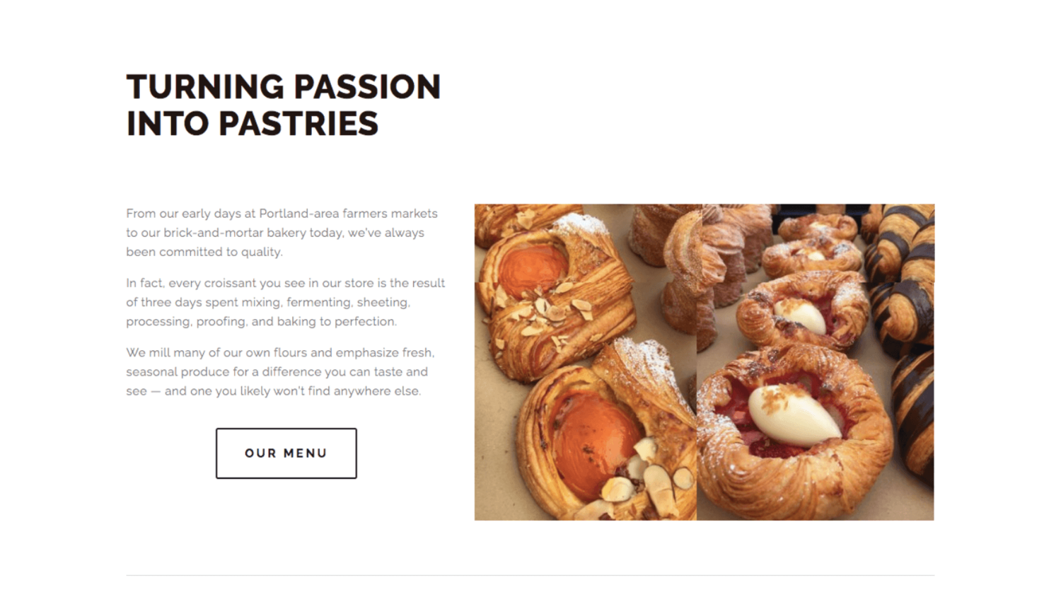 Website copy tells the business's story about how the croissants are made. Copywriting by Kelsey O'Halloran