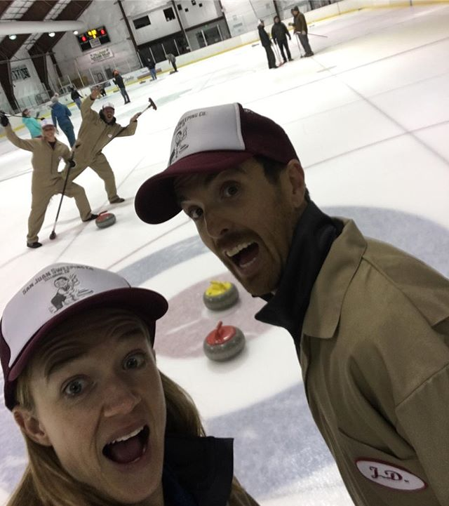 Come try curling! Learn to Curl Clinic this Sunday 12/30 3-5:30pm at the Hanley Ice Rink in Telluride Town Park. $20 per person. Practice Ice open 3:30-5:30pm for $10 per person. Sign up at telluridecurling.com #goodcurling #SWEEP #sanjuansweepingco #hurryhard #onthebutton #learntocurl #telluride #telluridecurling