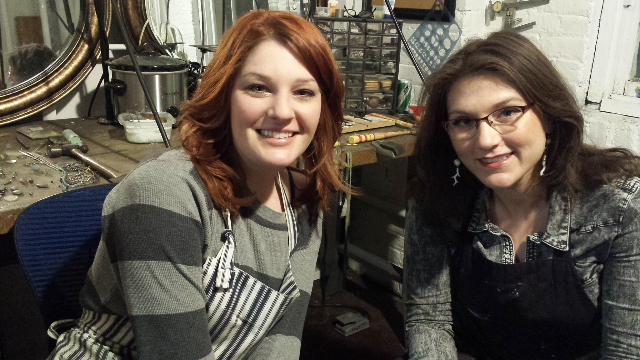 Emily Jones and Mallory Olesen Willing in their studio at the Racine Business Center.