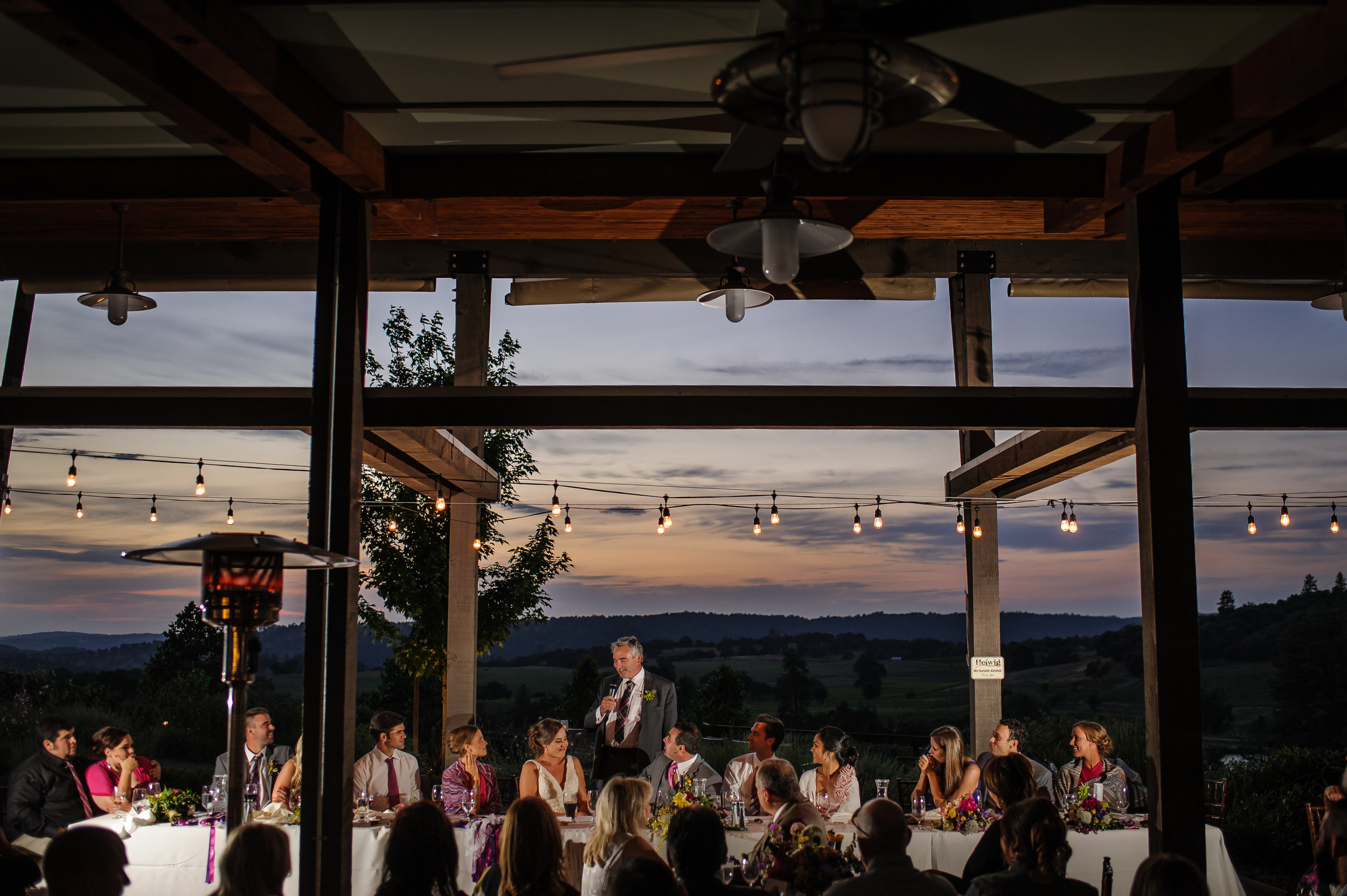 Father of the Bride toast during wedding at Helwig Winery in Plymouth California.