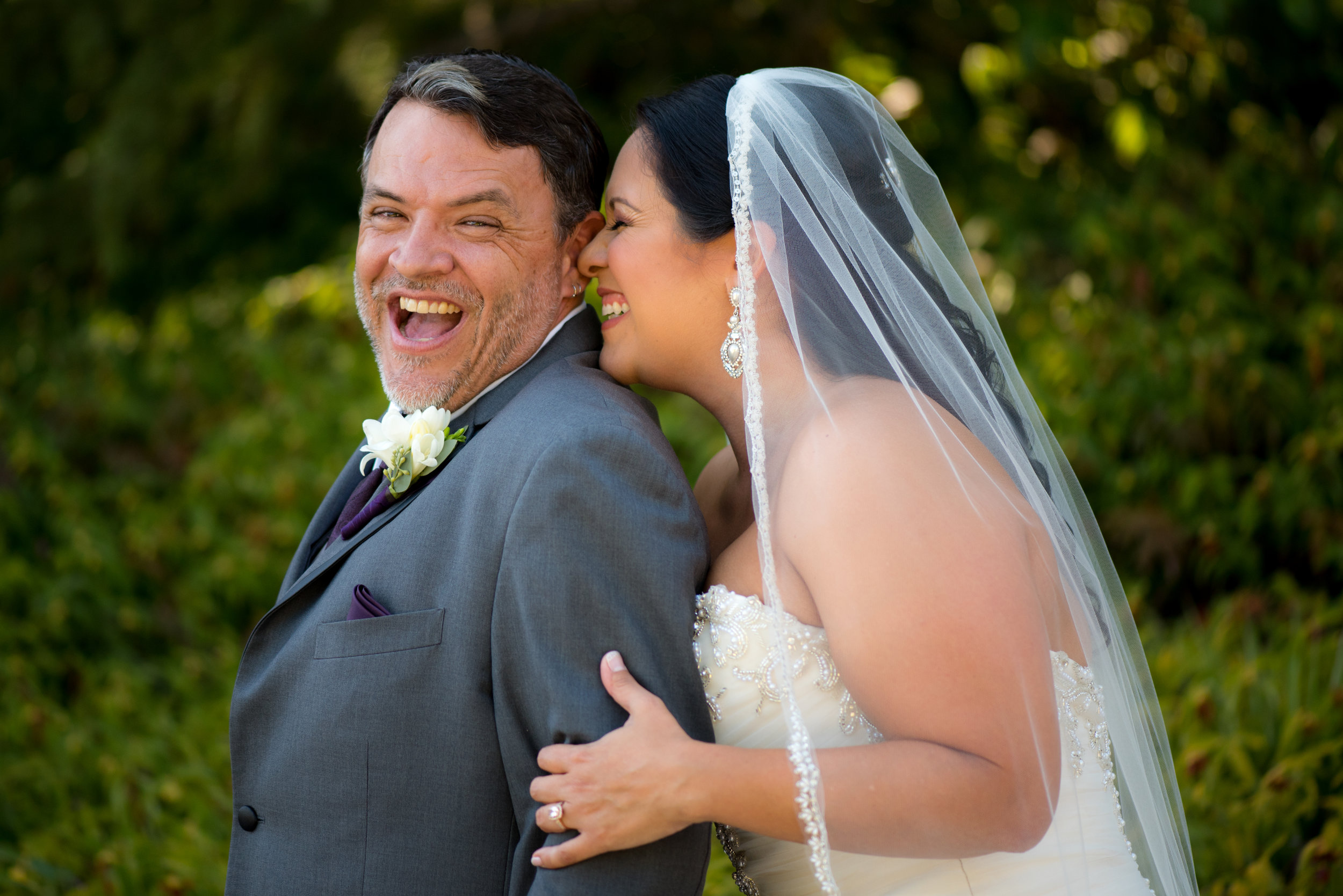 Fun wedding photo of bride and groom during wedding at Monte Verde Inn in Foresthill California.