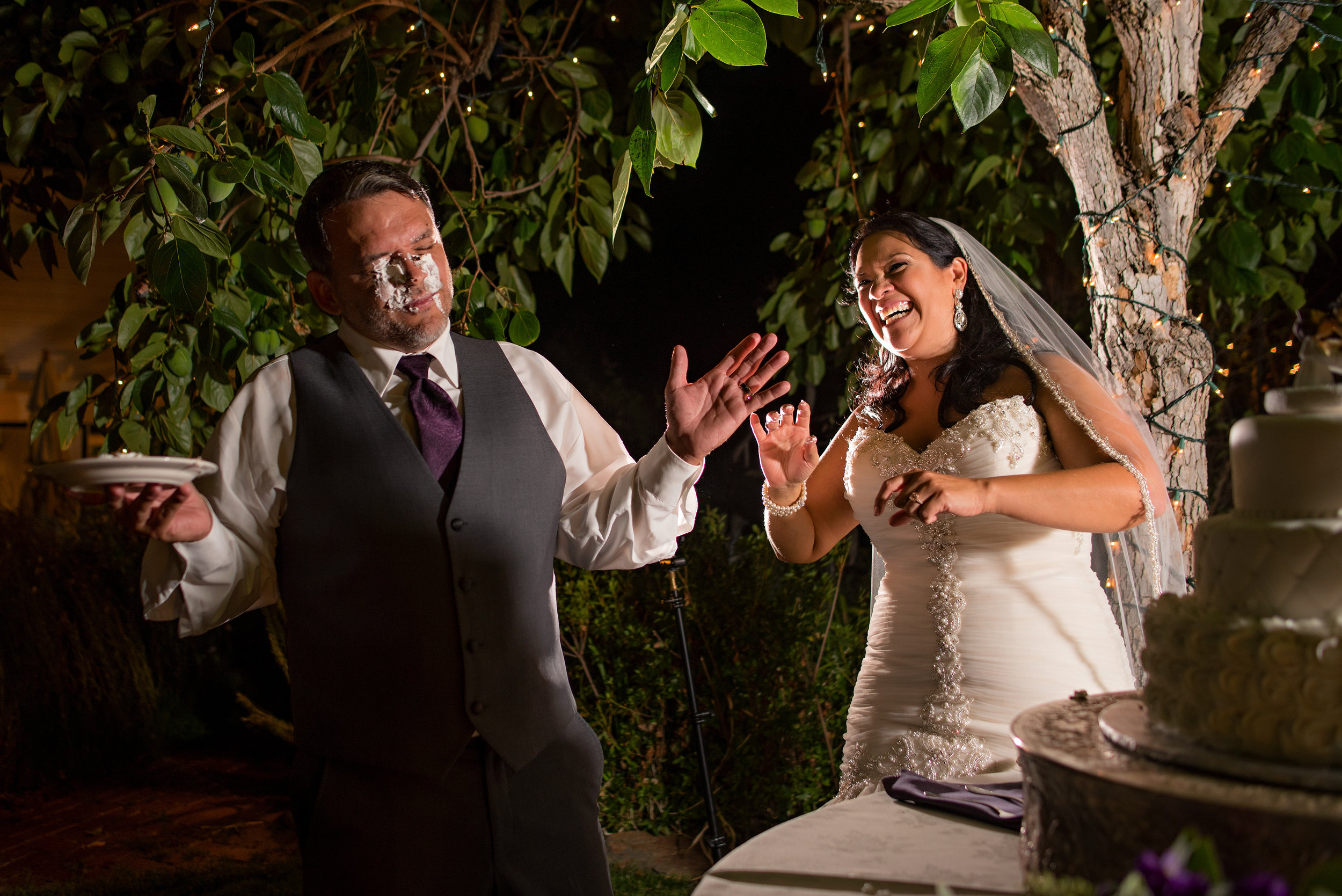 Cake cutting during wedding at Monte Verde Inn in Foresthill California.