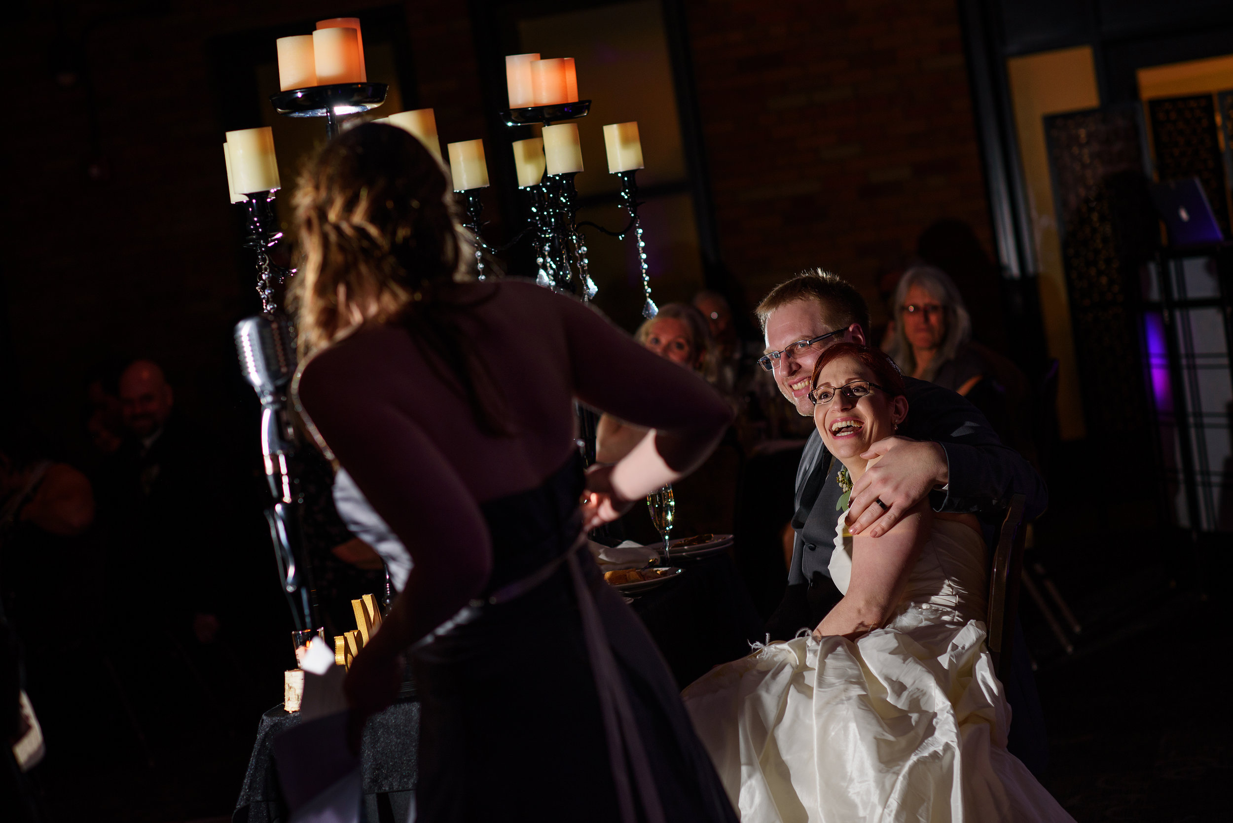 Maid of honor toast during wedding at the Citizen Hotel in Sacramento California.