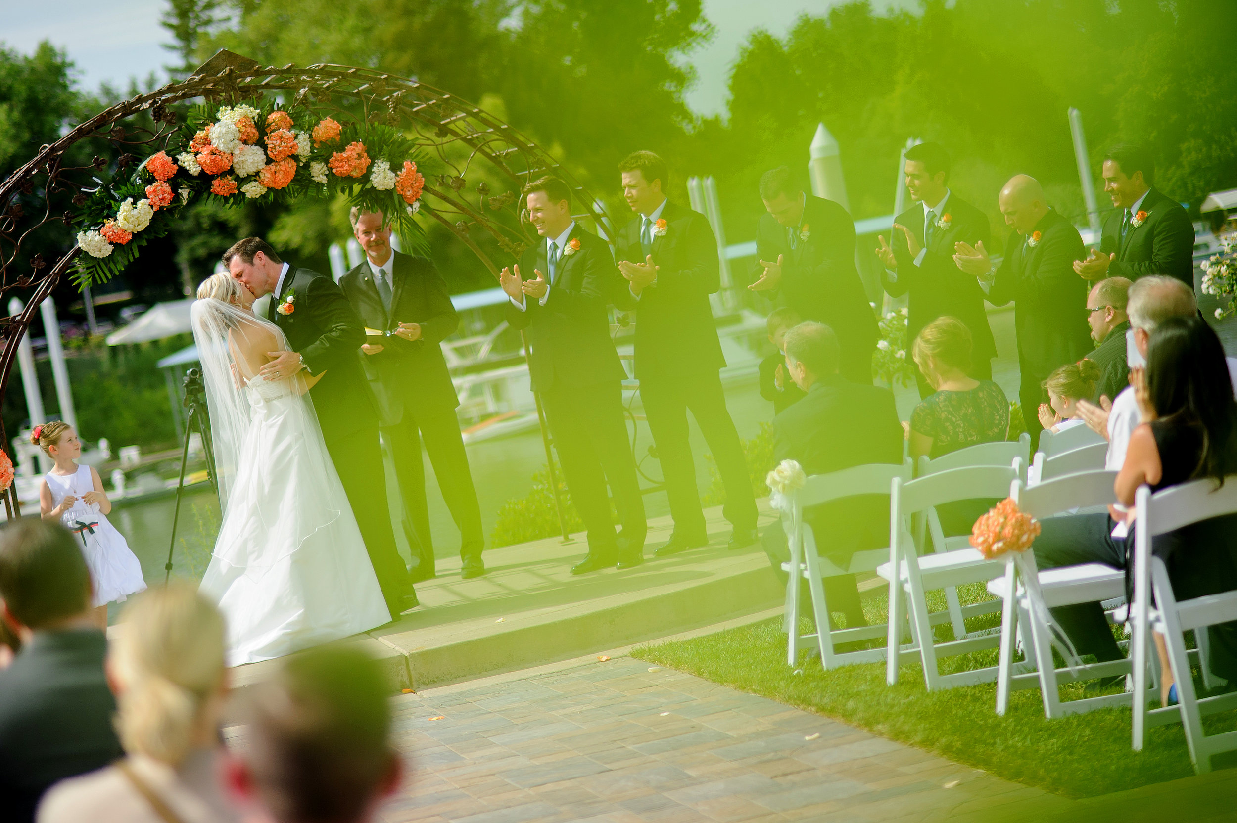 Ceremony kiss during wedding at The Westin in Sacramento California.