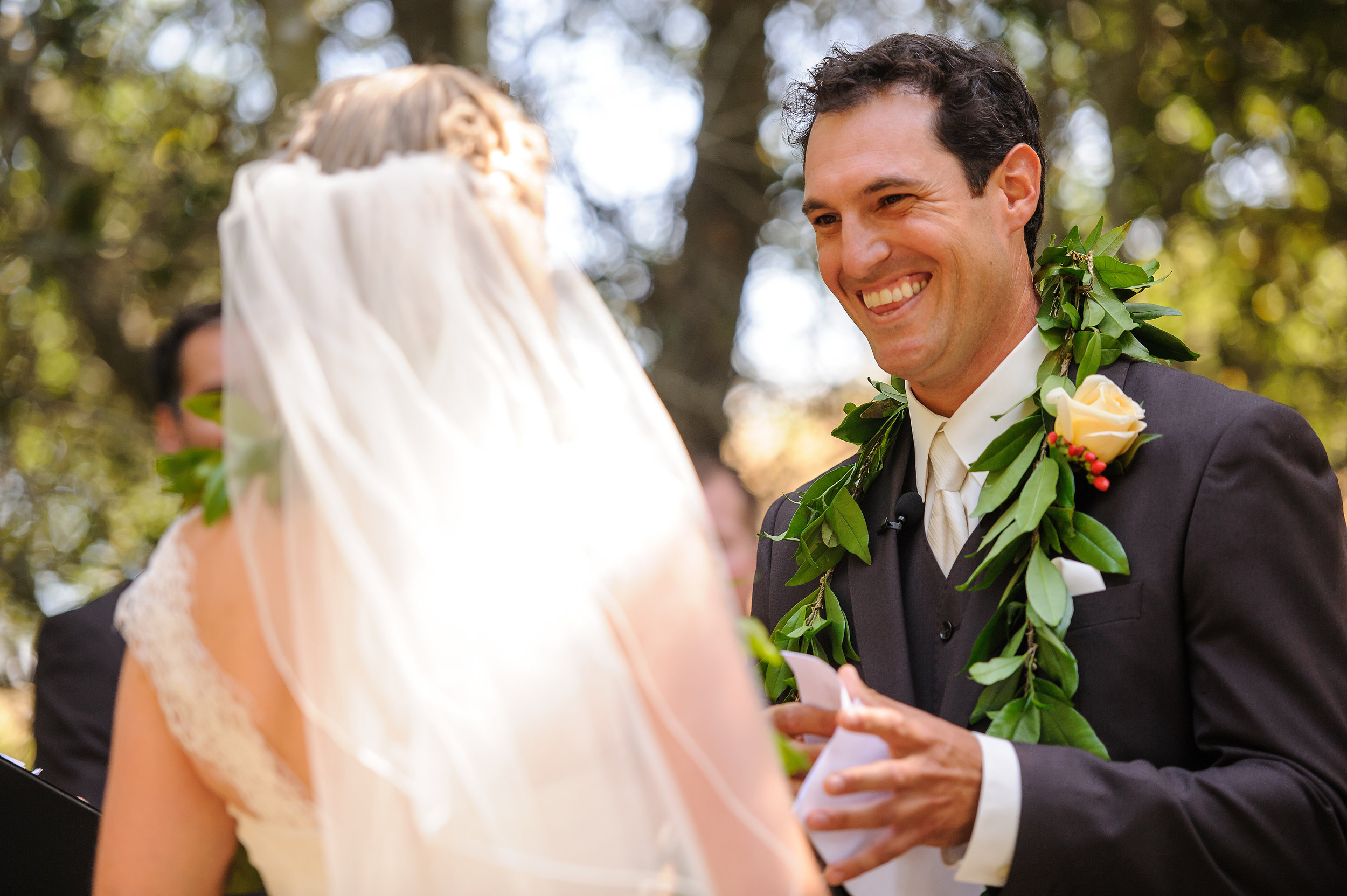 Groom's vows during wedding ceremony in Sonoma California.