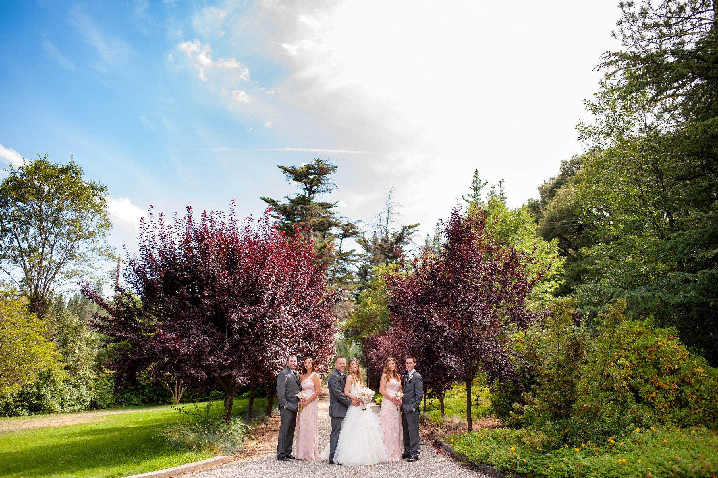 Beautiful bridal party photo at the entrance of the Monte Verde Inn in Foresthill, California.