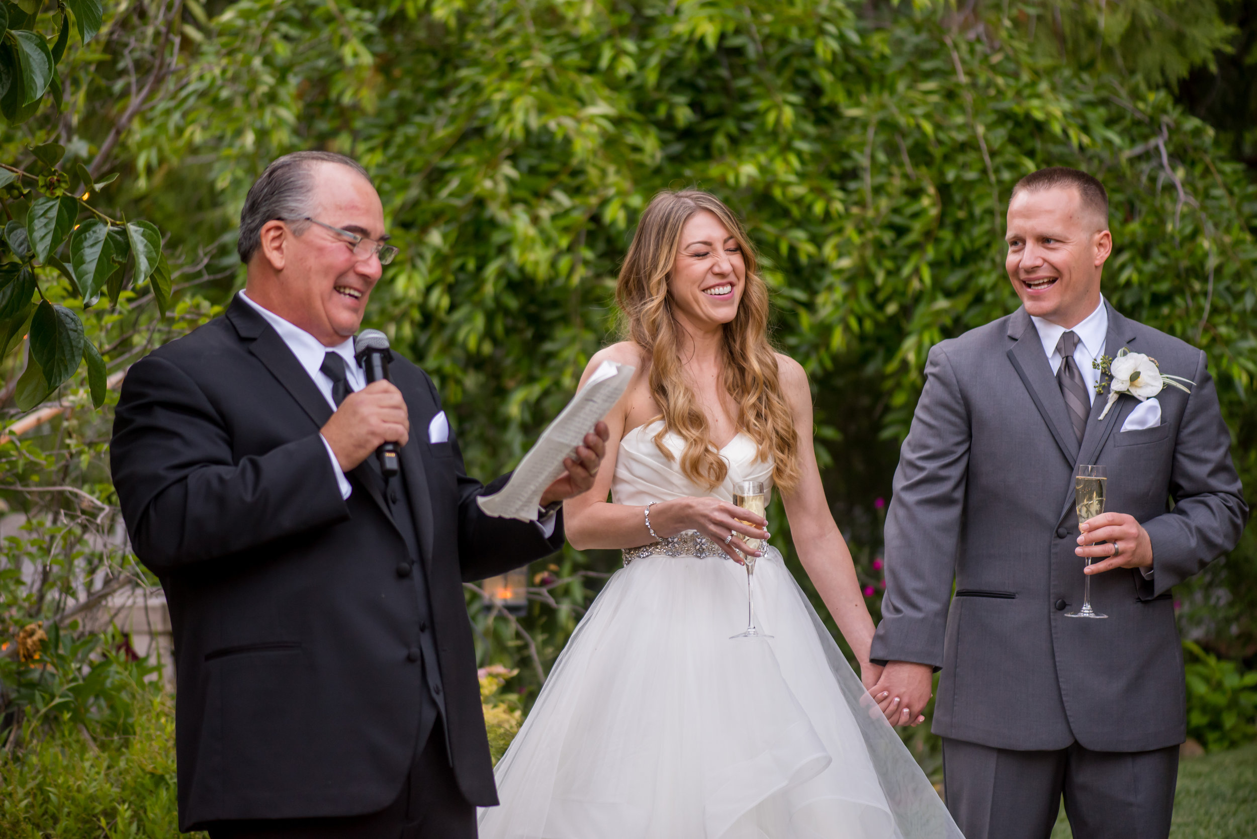 Father of the Bride toast during wedding at the Monte Verde Inn in Foresthill California.