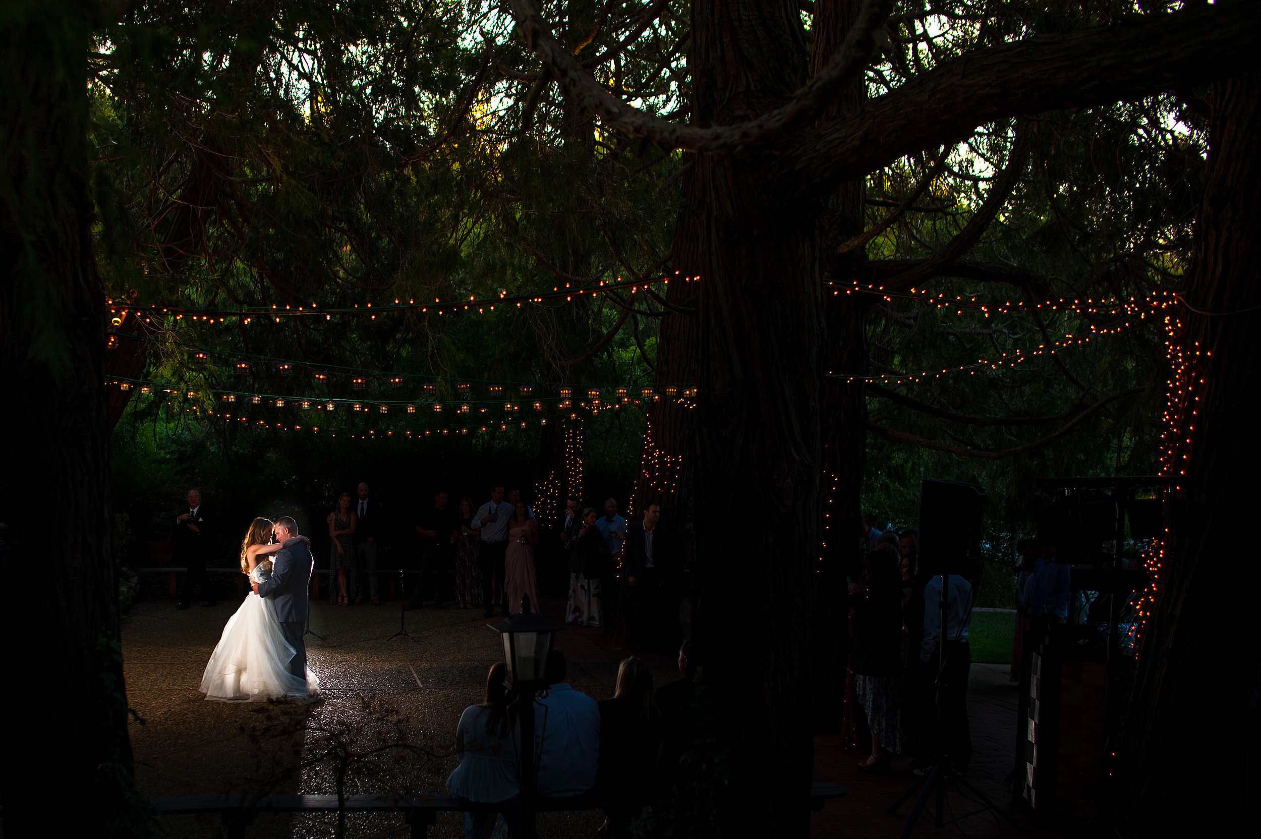 Romantic first dance during wedding at Monte Verde Inn in Foresthill California.