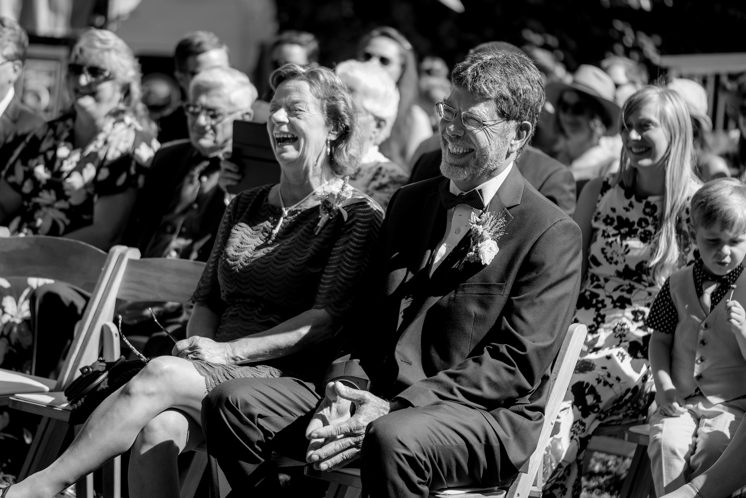 Proud parents observing wedding ceremony at The Mountain Terrace in Woodside California