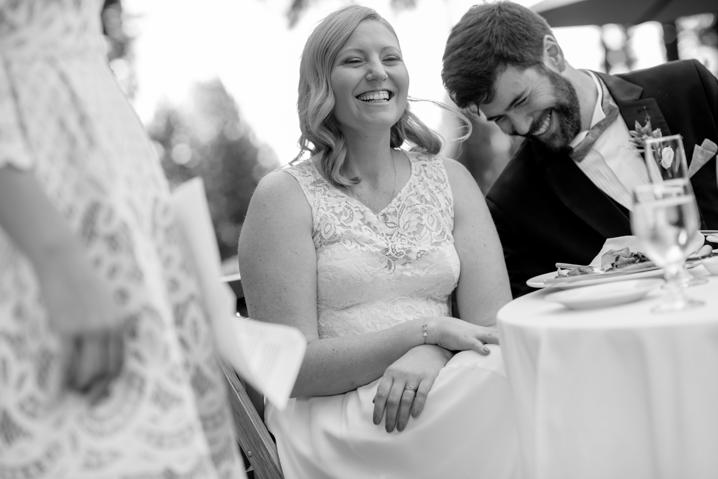 Bride and groom during wedding toasts at The Mountain Terrace in Woodside California.