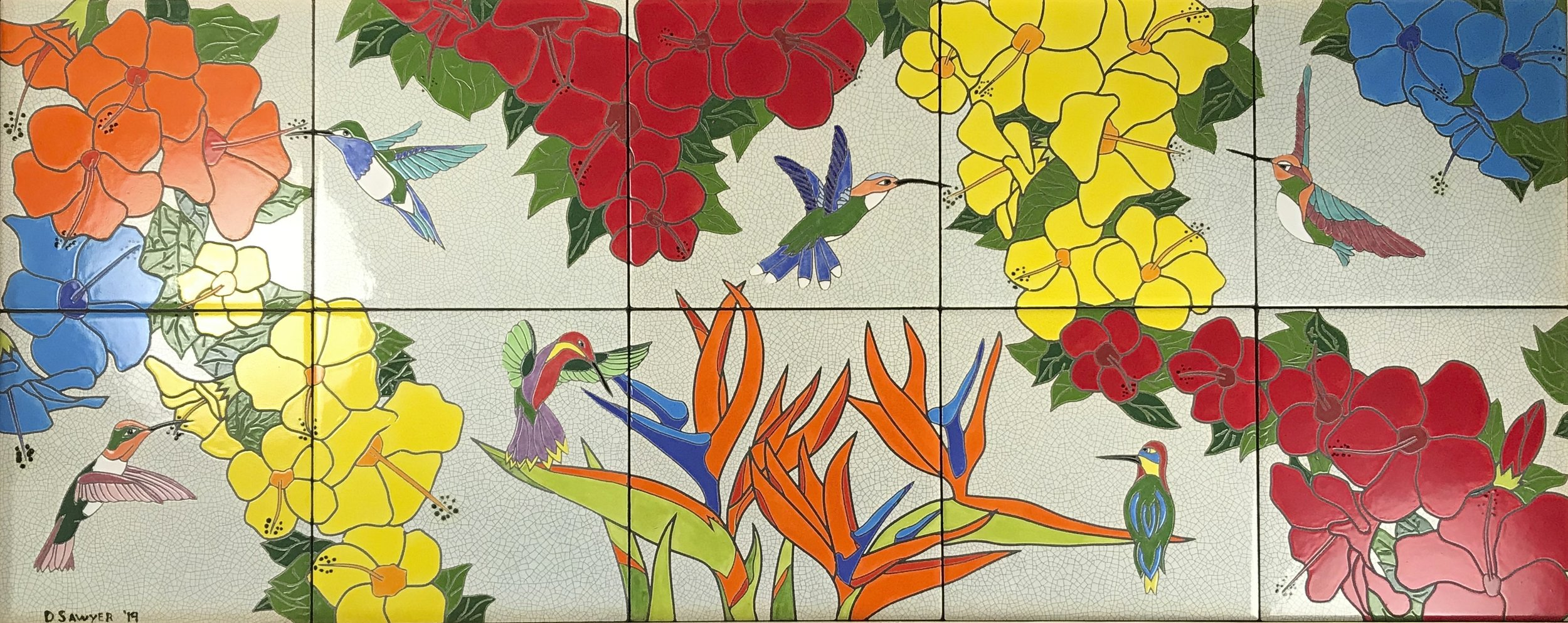 """Floribbean Afternoon - 16"""" x 40"""" commissioned art tile mural"""
