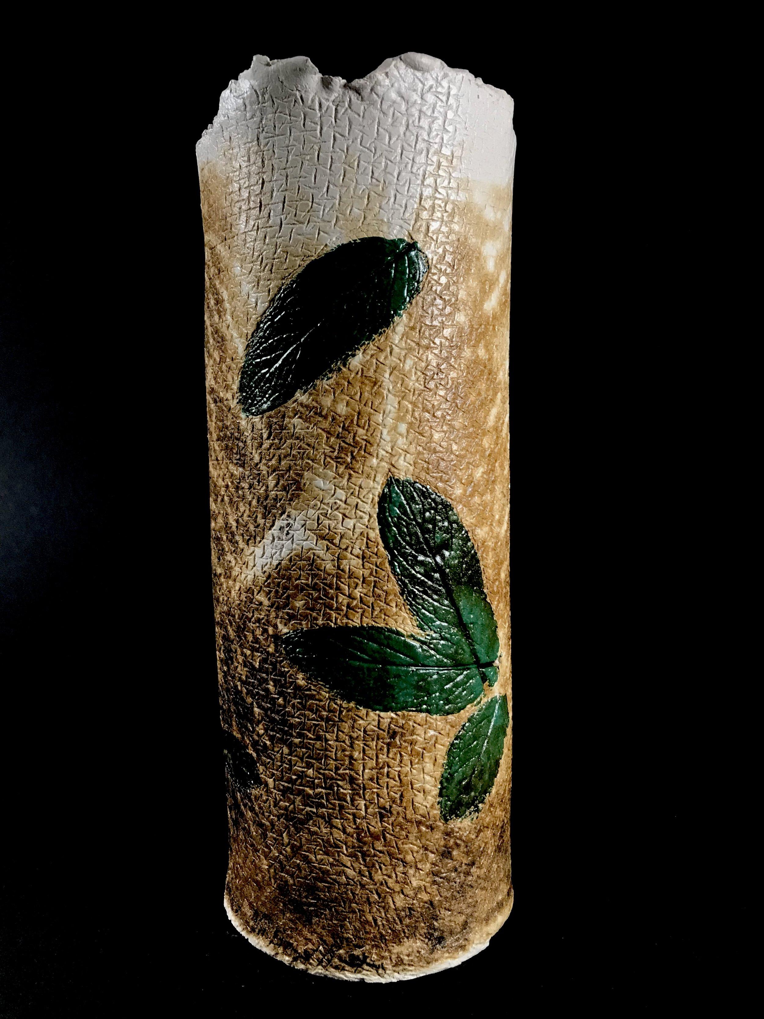 Obvarra Vase With Green Leaf Highlights