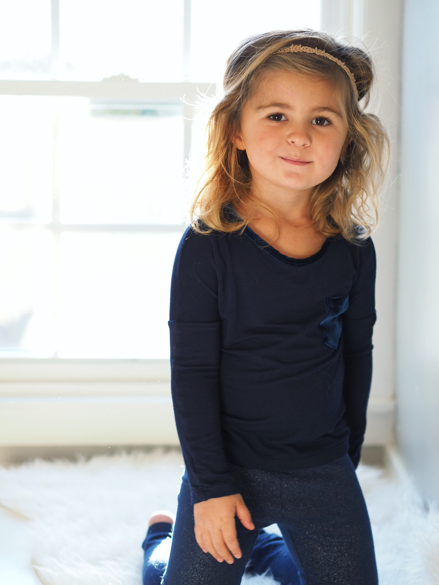 shop the look:  drop shoulder long sleeve top  with  navy leggings
