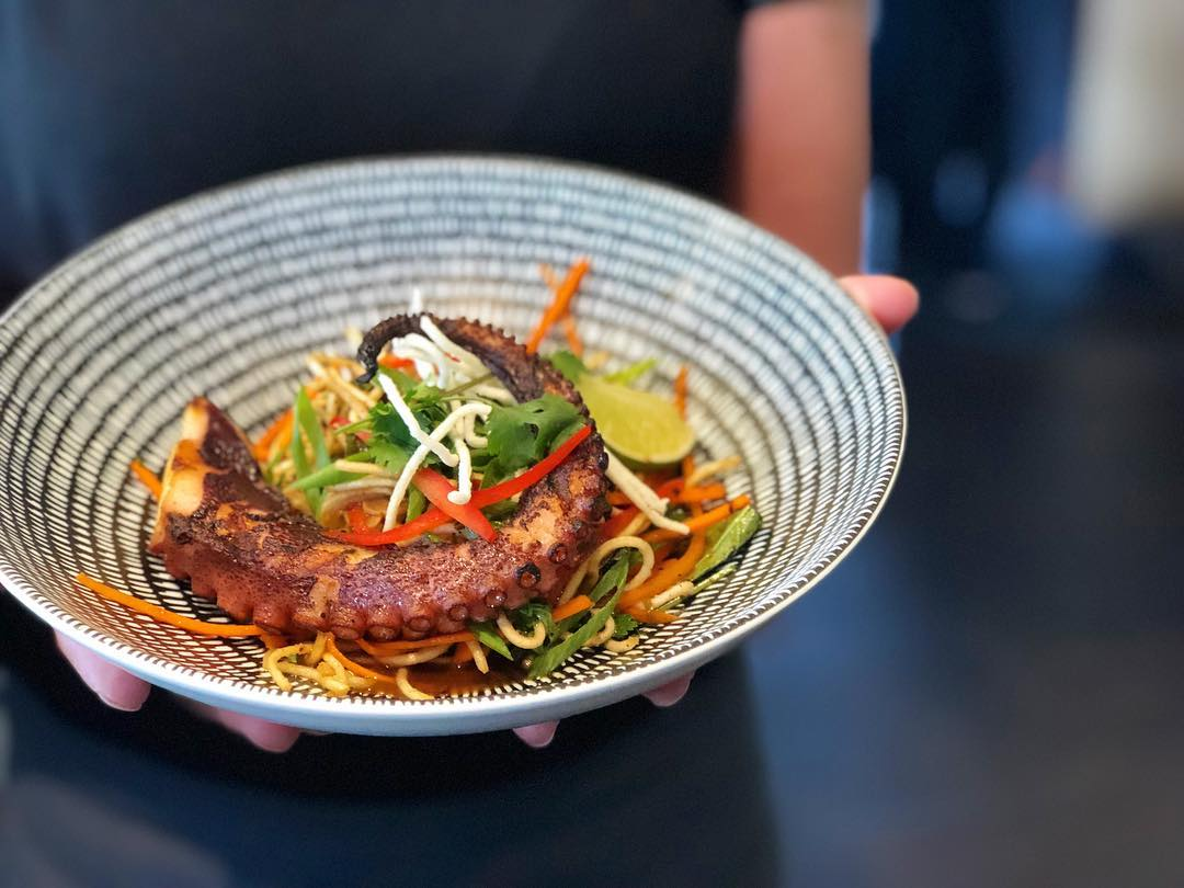 Singapore Szechuan Octopus with Crispy Chinese Noodles: a delicious appetizer option from Crazyweed Kitchen's 2018 Canmore Uncorked Set-Price Dinner Menu.