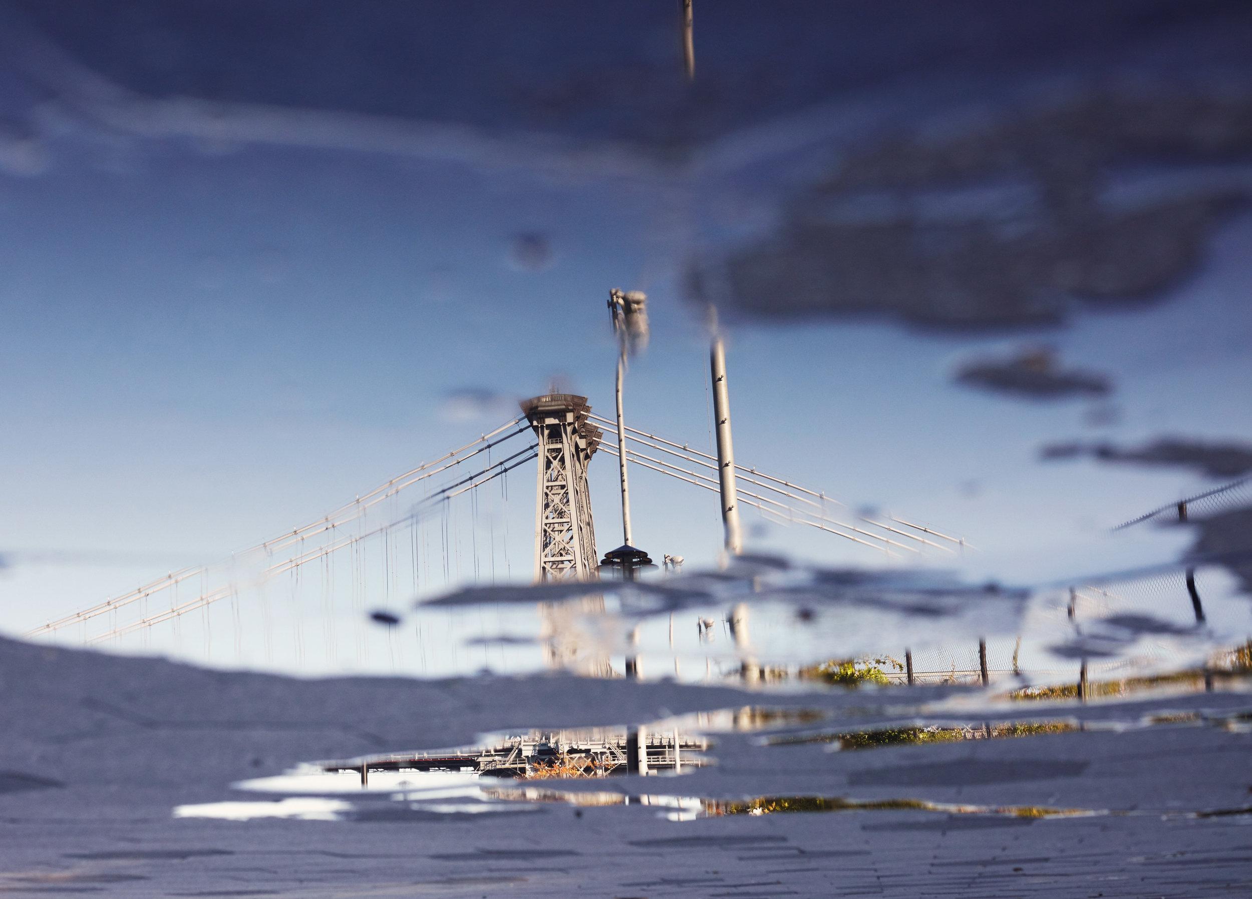 Williamsburg Bridge, Reflection in Puddle
