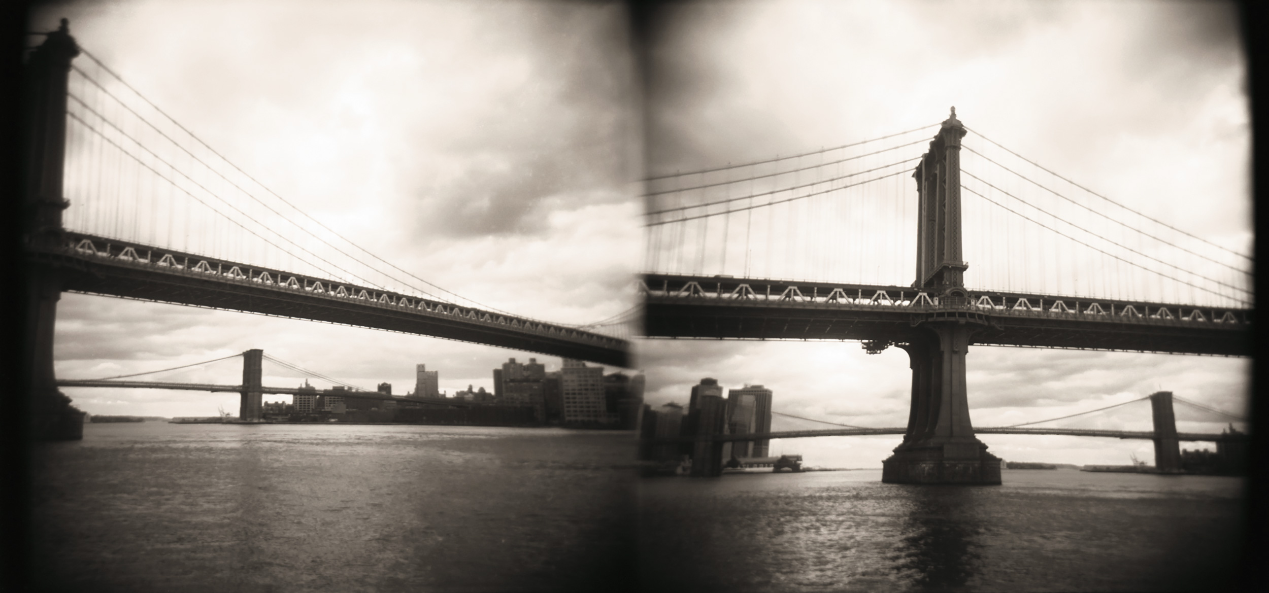 Manhattan Bridge B&W, Double Exposure