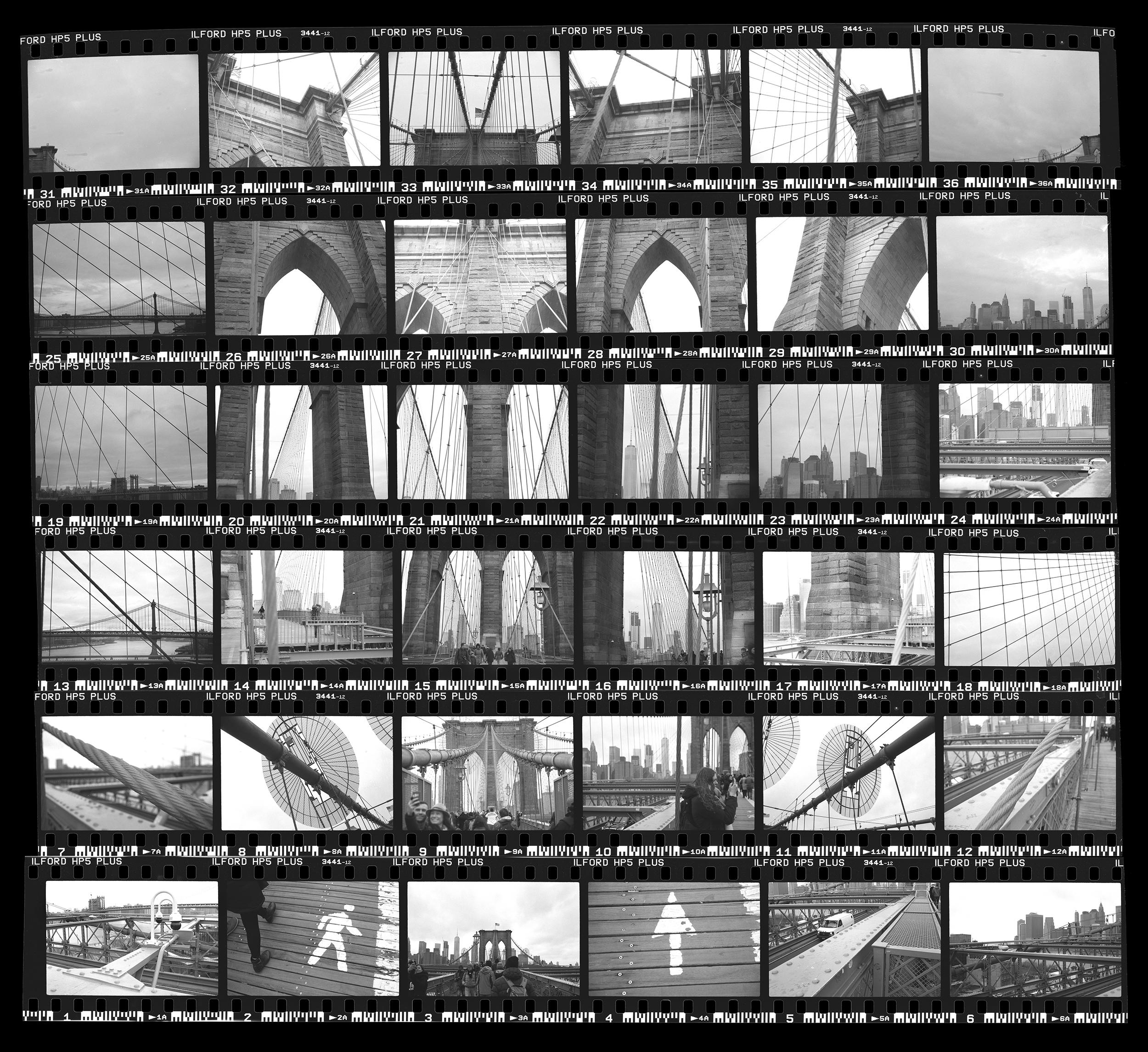 Brooklyn Bridge, 35mm Contact Sheet