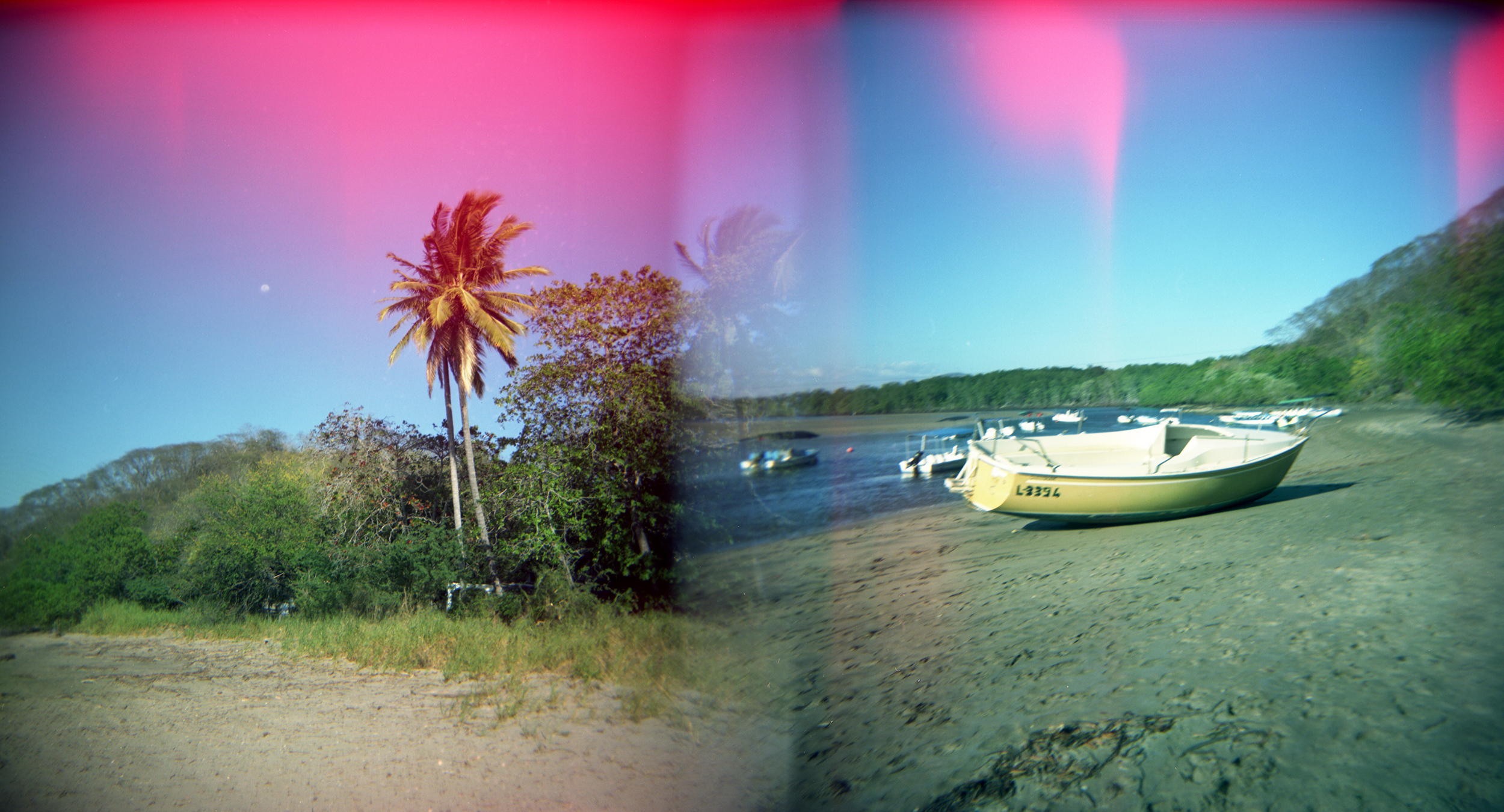 Palm & Boat, Double Exposure