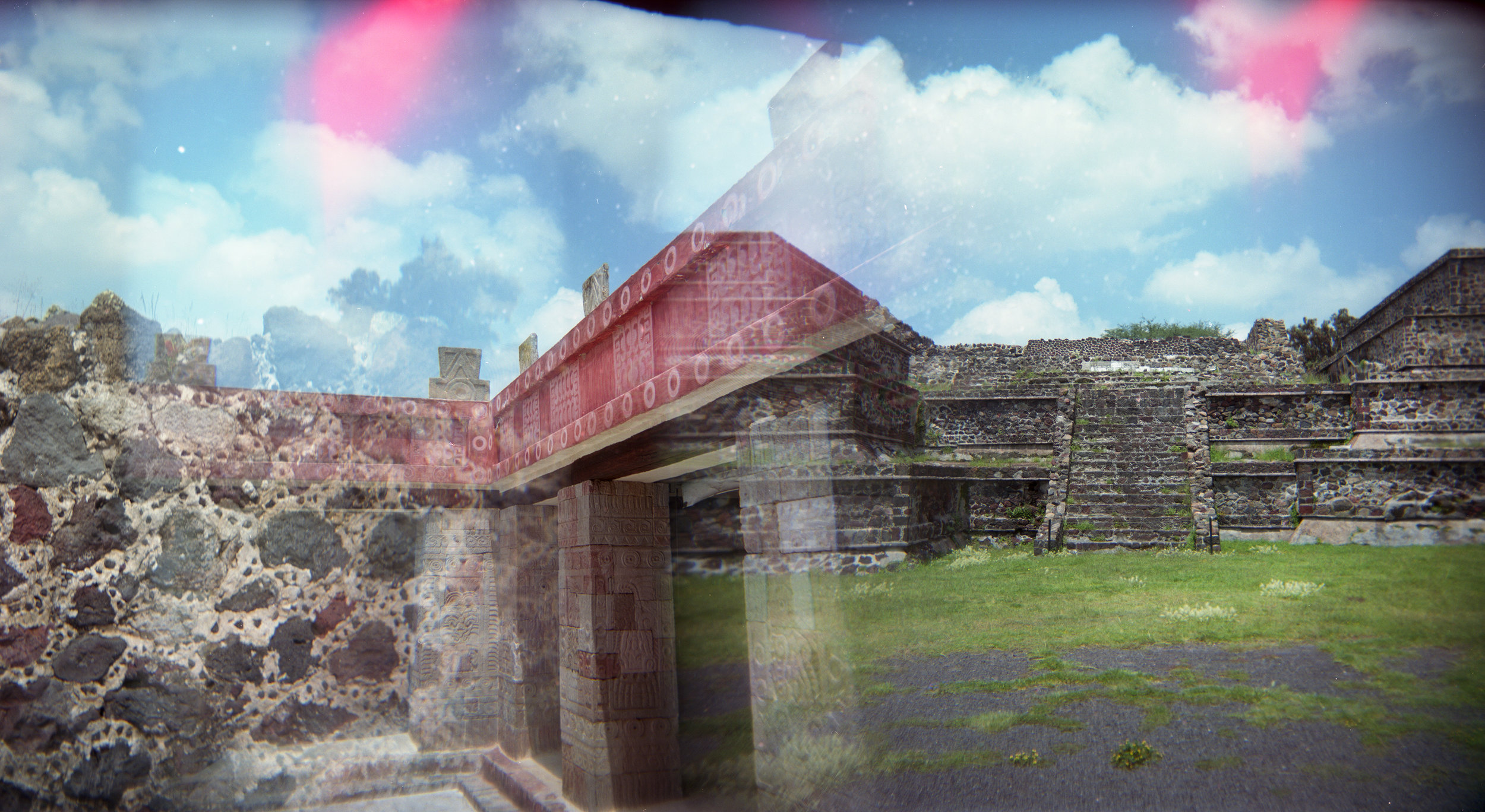 Teotihuacan Village Panoramic, Multiple Exposures