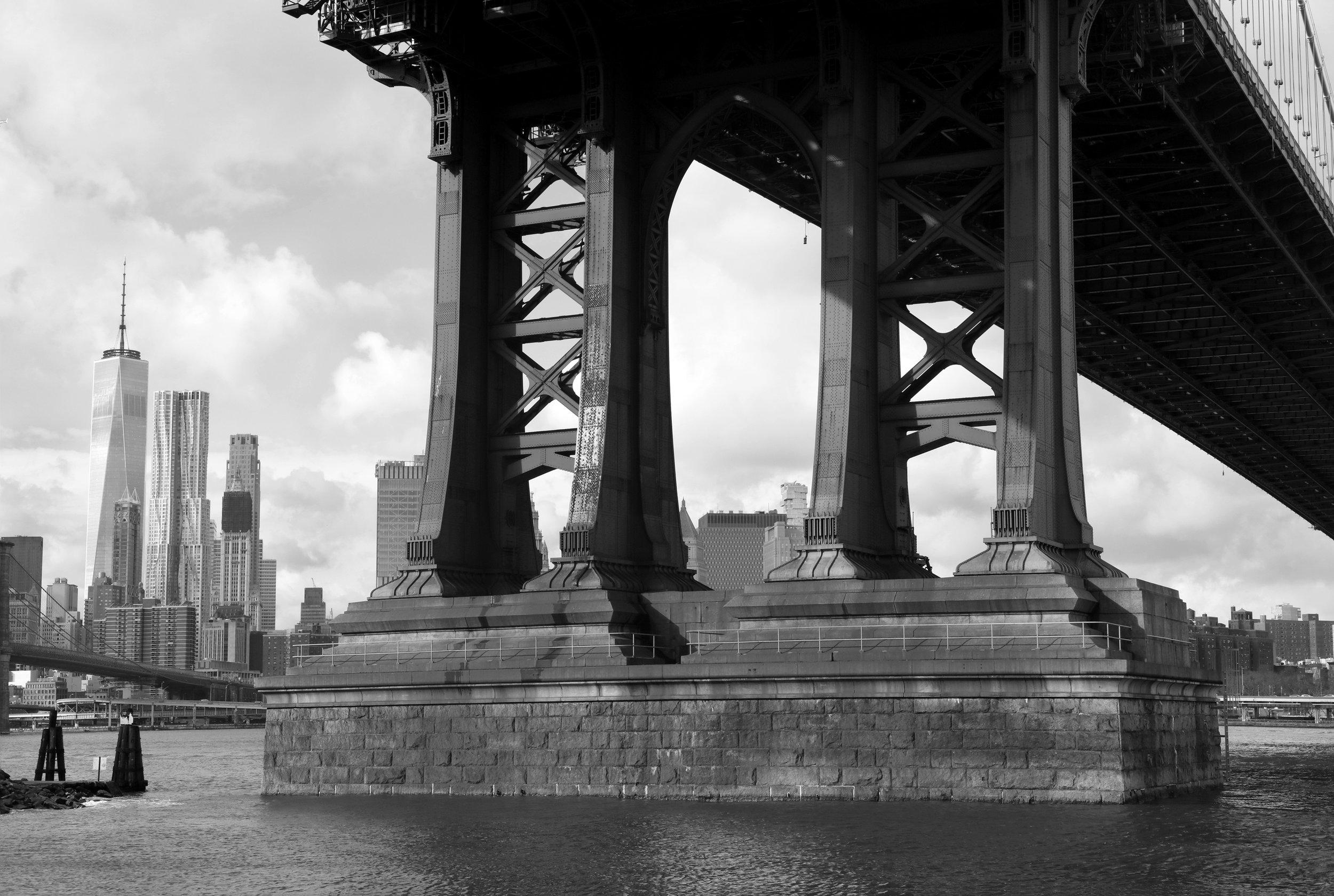 Manhattan Bridge Detail, Black & White