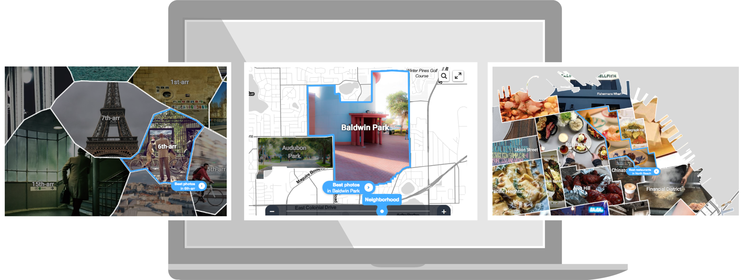 - Need a map of restaurants and attractions in your town? Make it in seconds, grab the snippet of code and embed on your own site - for free! We're so confident you'll love it that the first month of your photo map is on us.