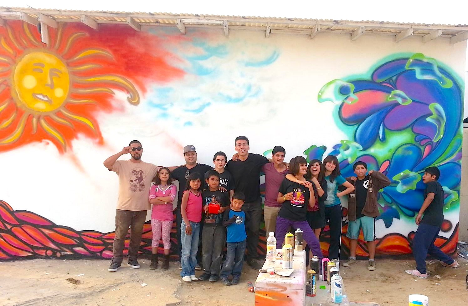 Tijuana local muralists work with orphanage youth to beautify their community
