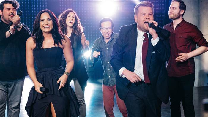 With James Corden and Demi Lovato on the Late Late Show