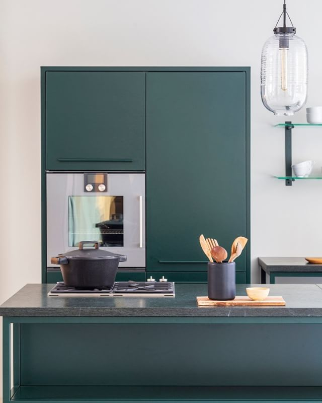 Introducing our brand new edition of the Travel Kitchen: Green Steel Kitchen - with a tabletop made of green marble from Italy. #cphsquare #designkitchen #dreamkitchen #designkøkken #drømmekøkken #kitchen #køkkeninspiration #køkken #køkkenindretning #scandinaviandesign #nordichome