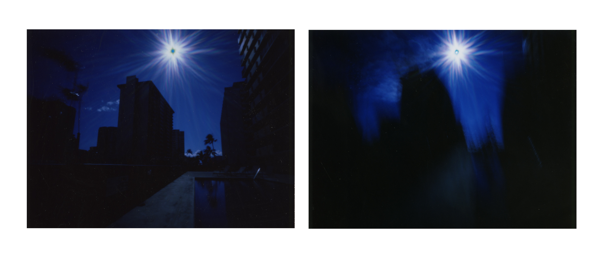 """Downtown Honolulu at 970mph"" 2016.  Archival Pigment Print from Fujifilm FP100-C Instant Photographs. 17x44"""