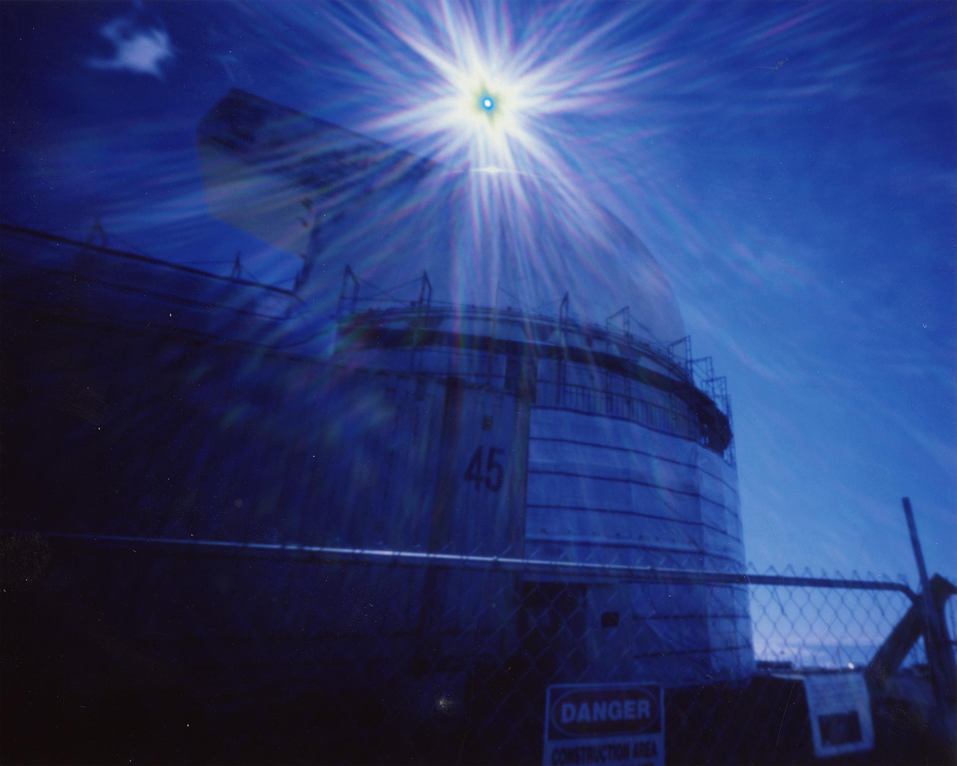 """""""UH 2.2 Meter Telescope at 970MPH"""" Fujifilm FP-100C Instant Picture, 3.25""""x4.25"""", 2017."""