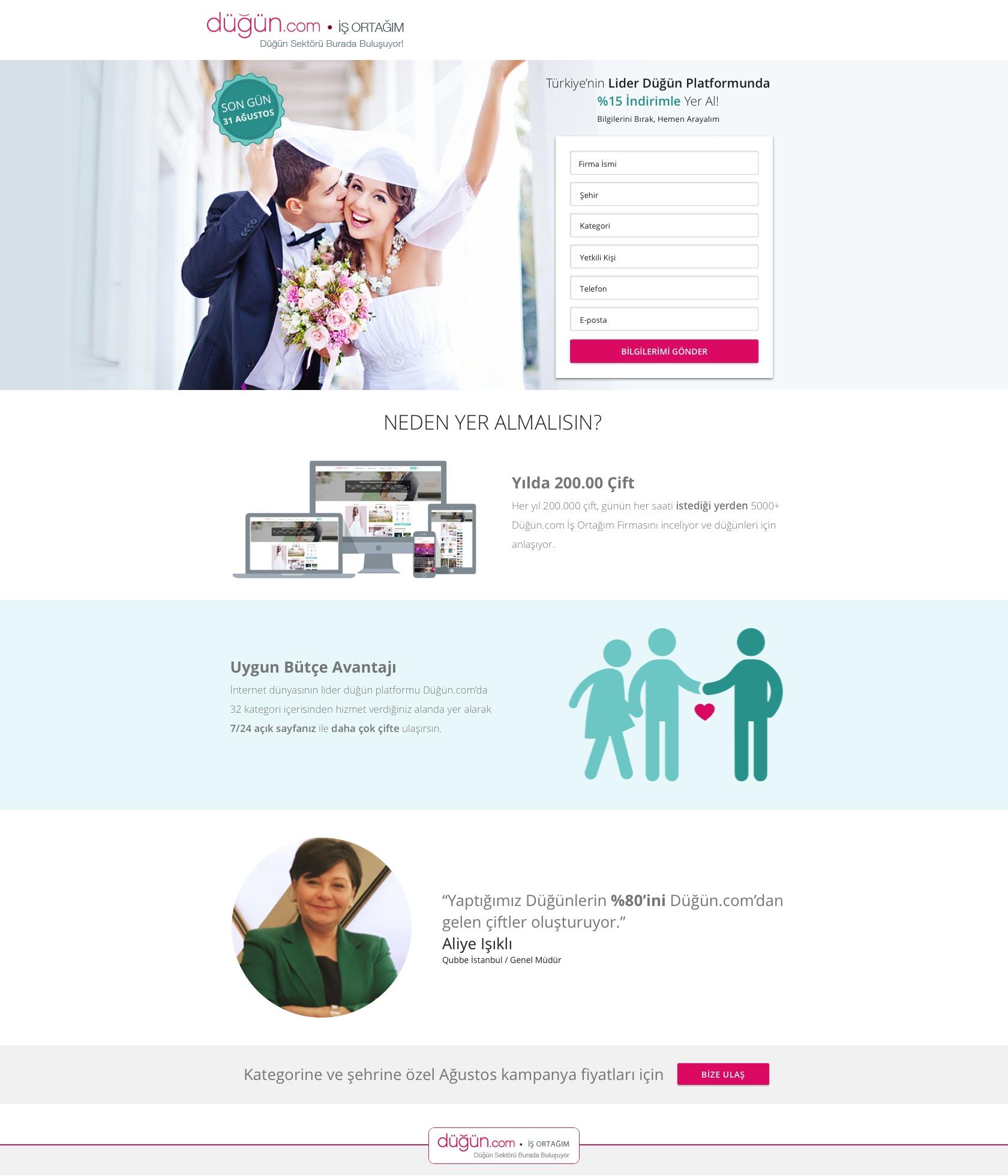 Dugun.com B2B Mail Landing Page