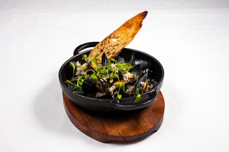 mussels & chips, at the brass monkey seafood restaurant, Howth