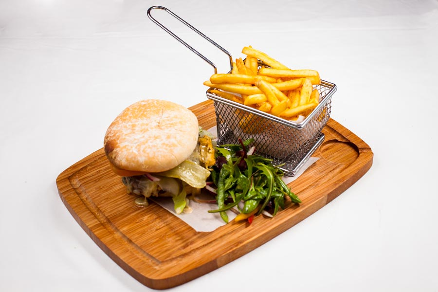 Irish burger and chips at the brass monkey restaurant, Howth