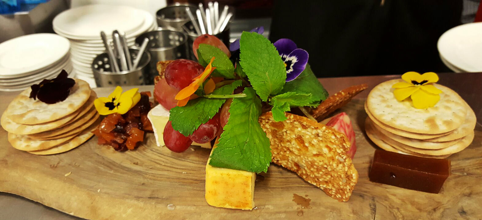 Irish cheese board with homemade chutney and quince jelly