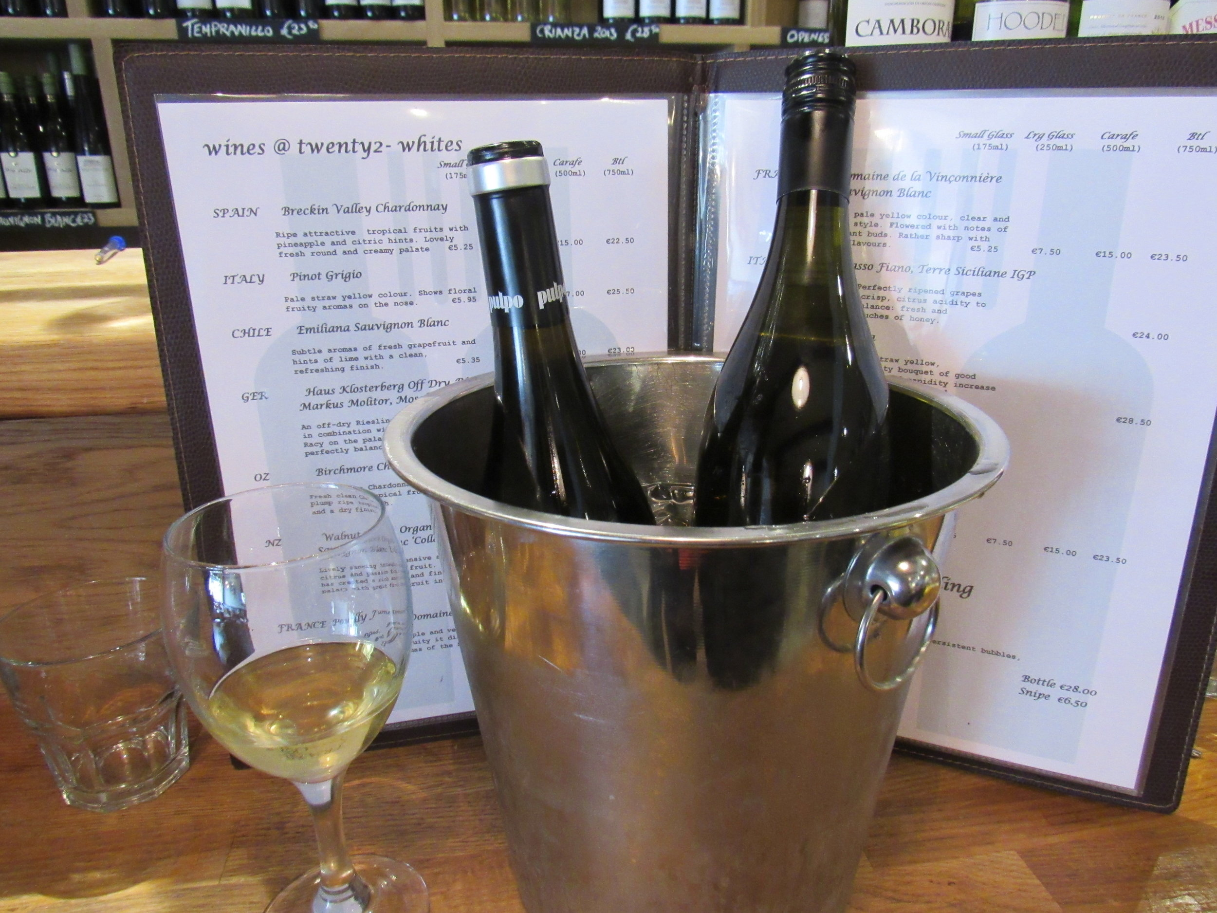 wines by the glass at twenty2 restaurant, dublin 9