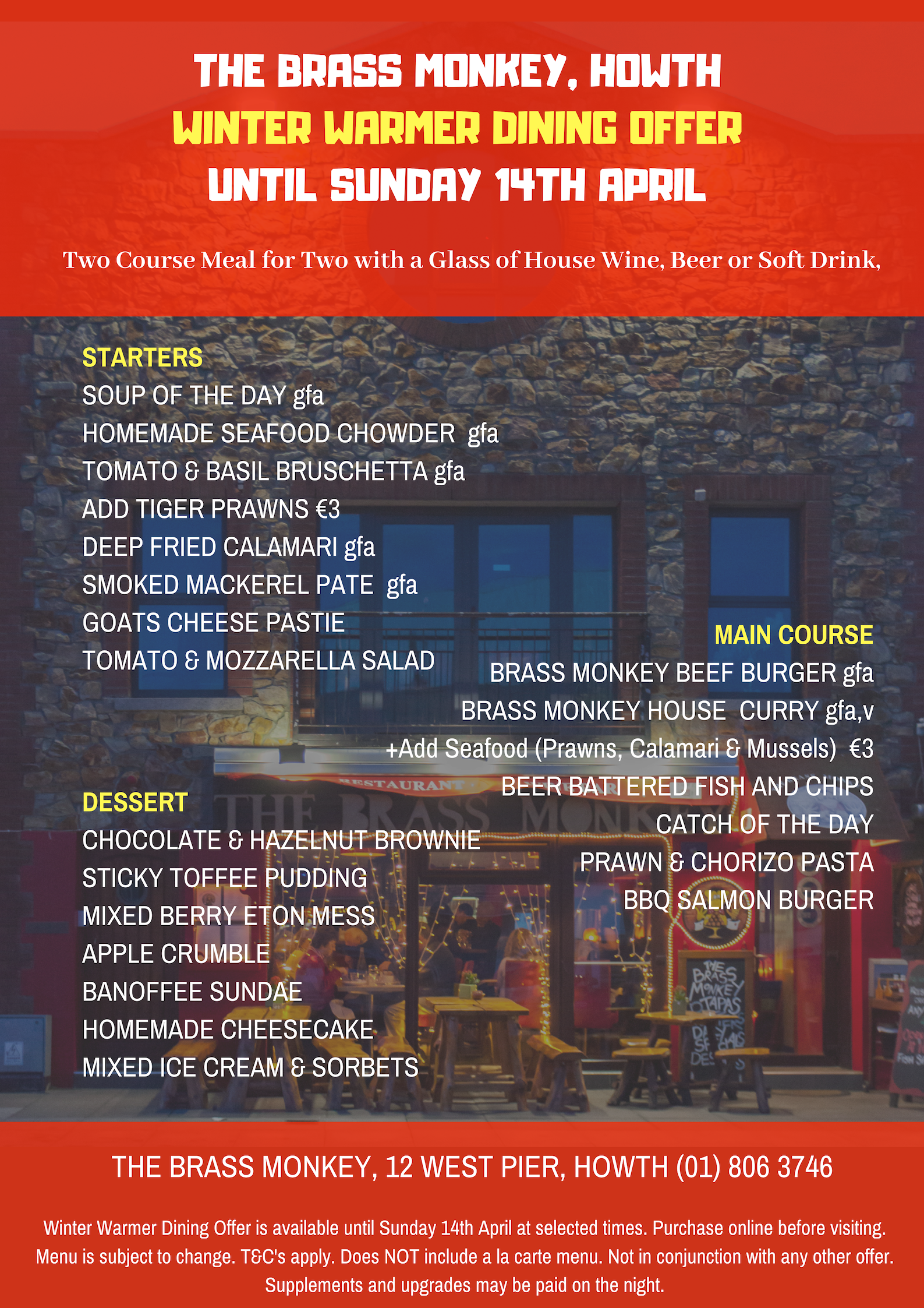 €45 Winter Warmer Dining Offer at The Brass Monkey, Howth