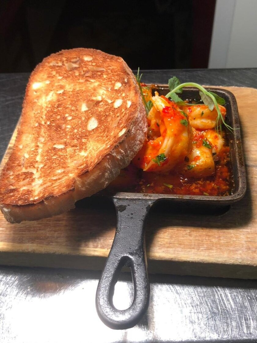 prawns and toast