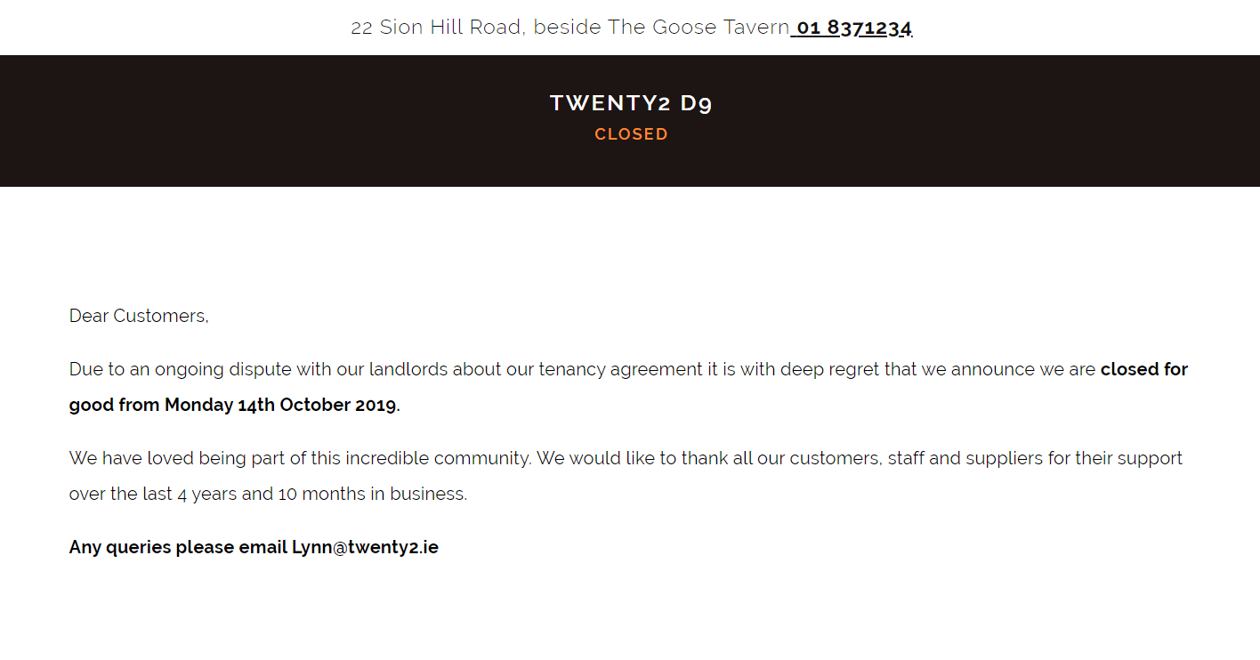 The notice of closure on the twenty2 website