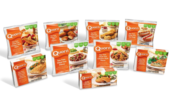 Quorn meat-free products. Warning: not all of them are vegan as some have egg protein in them.
