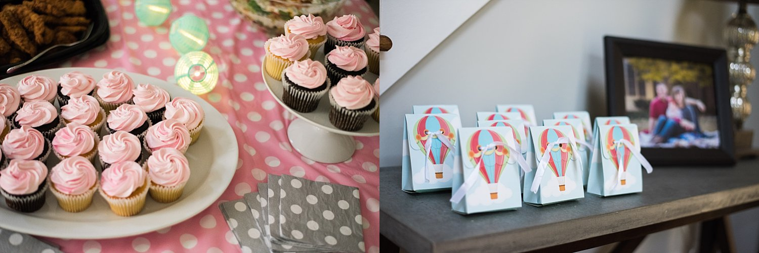 pink cupcakes and balloon gift bags